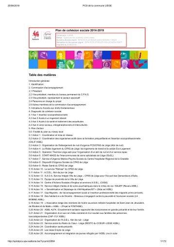 Le Plan de Cohésion Sociale de la Ville de Liège 2014-2019