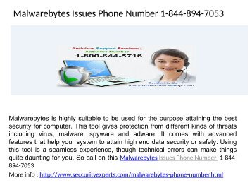 Malwarebytes Technical Issues Phone Number 1-844-894-7053