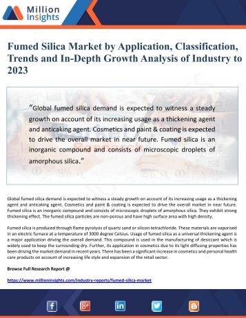 Fumed Silica Market by Application, Classification, Trends and In-Depth Growth Analysis of Industry to 2023