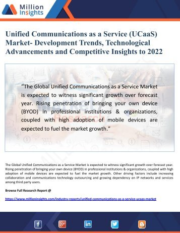 Unified Communications as a Service (UCaaS)    Market- Development Trends, Technological Advancements and Competitive Insights to 2022