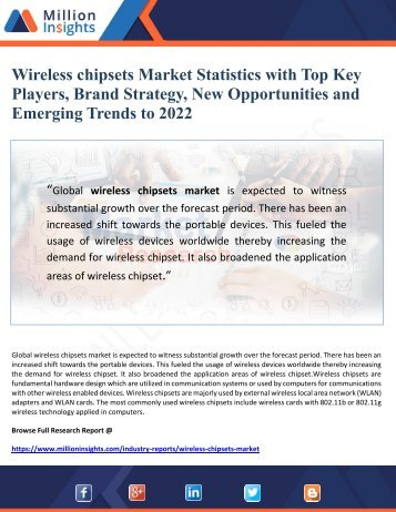 Wireless chipsets Market Statistics with Top Key Players, Brand Strategy, New Opportunities and Emerging Trends to 2022