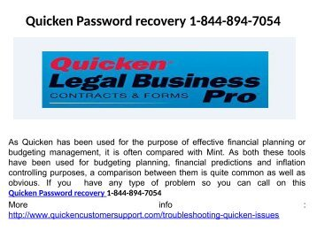 Quicken Customer Service Number 1-844-894-7054
