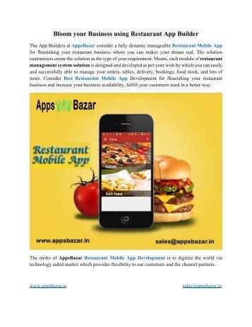 Bloom your Business using Restaurant App Builder