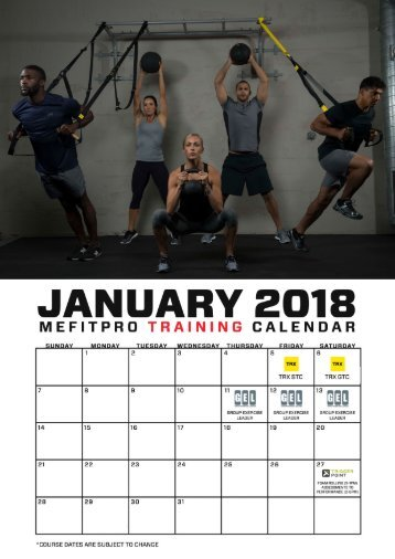 Training Calendar - Jan to May