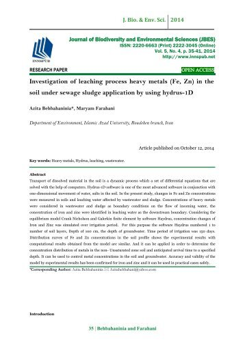Investigation of leaching process heavy metals (Fe, Zn) in the soil under sewage sludge application by using hydrus-1D