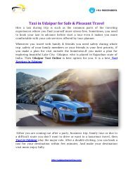 Taxi in Udaipur for Safe & Pleasant Travel