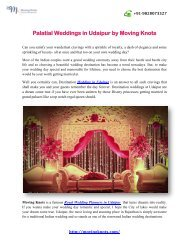Palatial Weddings in Udaipur by Moving Knots