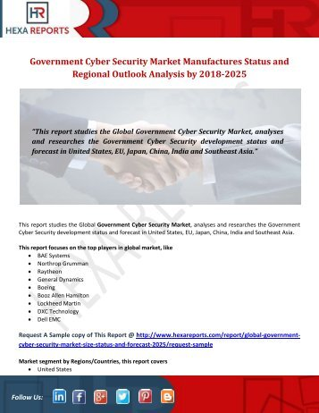 Government Cyber Security Market Manufactures Status and Regional Outlook Analysis by 2018-2025