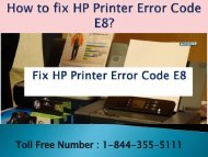 Dial 1-800-576-9647 | How to fix HP Printer Error Code E8