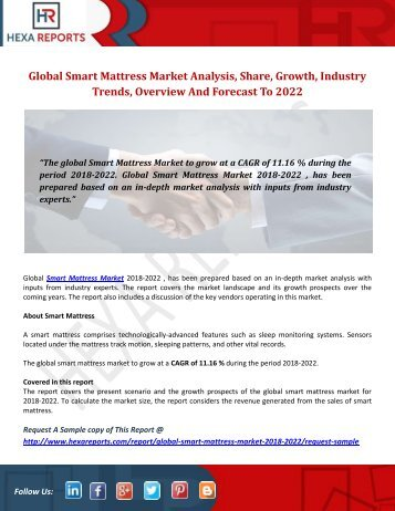 Smart Mattress Market | Share, Size, Trends, Growth and Analysis, 2018-2022