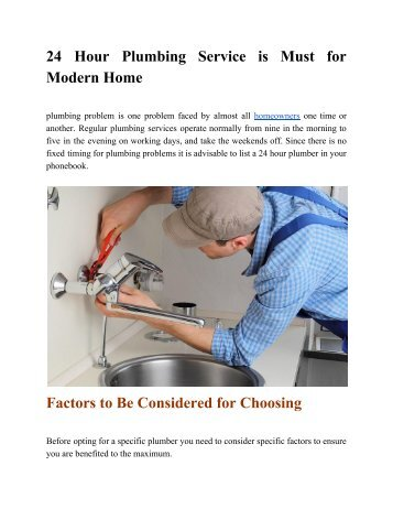 24 Hour Plumbing Service is Must for Modern Home