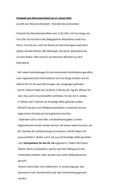 Protokoll zum Elternstammtisch am 17.01.2012 - Diakonie Leipzig