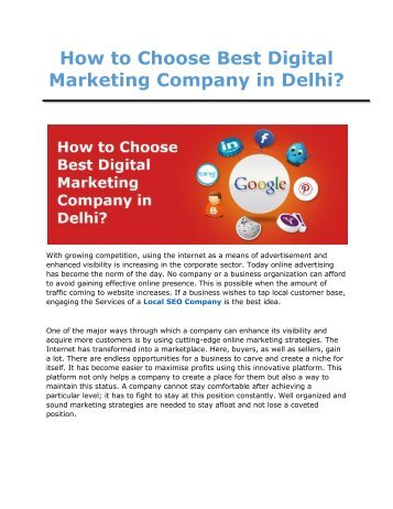 How to choose Best Digital Marketing Company in Delhi?