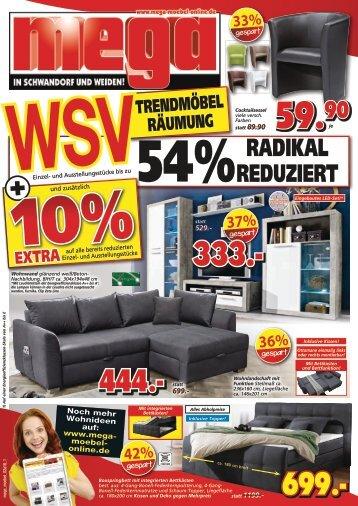 Trendmöbel-Räumung - WSV radikal reduzierte Angebote bei mega Möbel in Schwandorf und Weiden