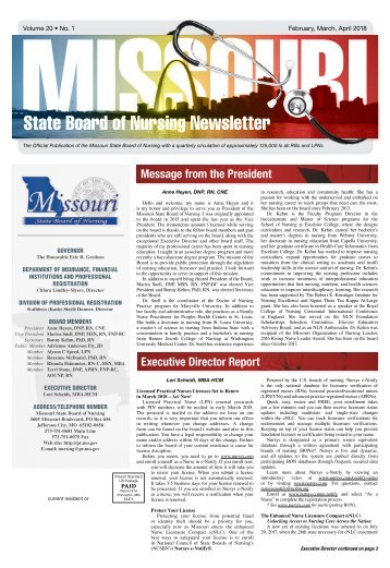Missouri State Board of Nursing Newsletter – February 2018