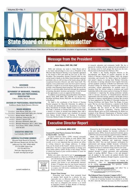 Missouri State Board of Nursing Newsletter – February 2018
