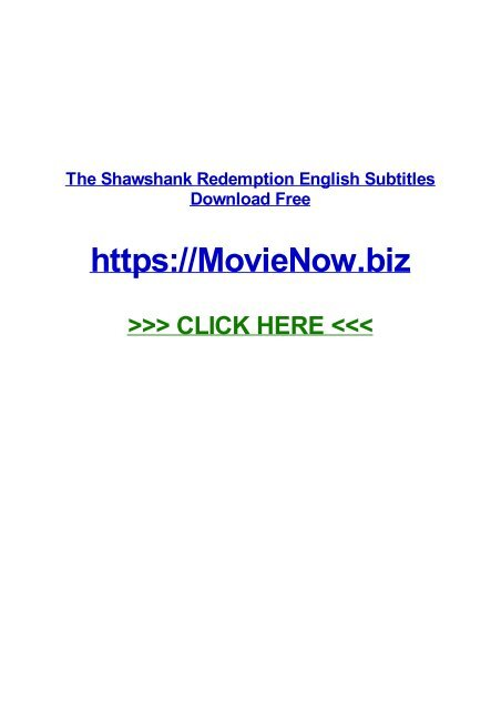 The Shawshank Redemption English Subtitles Download Free
