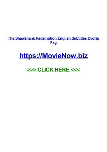thE shAwSHAnk REDEmption eNGLIsh SuBTiTles DVdrIp fXG