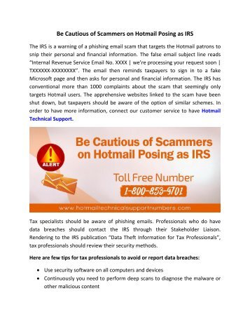Be Cautious of Scammers on Hotmail Posing as IRS