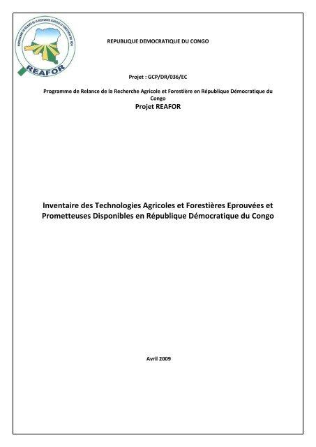 Inventaire Des Technologies Agricoles Et Forestiãres