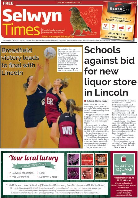 Selwyn Times: September 05, 2017