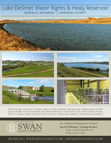 Lake DeSmet Water Rights and Healy Reservoir Preliminary Information Sheet