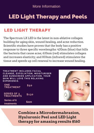 Find more details about LED Light Therapy and peels