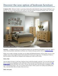 Discover the new option of bedroom furniture