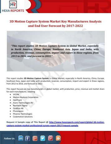 3D Motion Capture System Market Key Manufactures Analysis and End User Forcast by 2017-2022