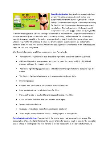Purelyherbs Garcinia Cambogia - Is the Fat Blocker Supplement