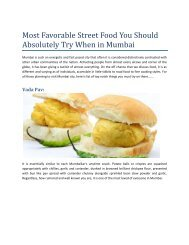 Most Favorable Street Food You Should Absolutely Try When in Mumbai
