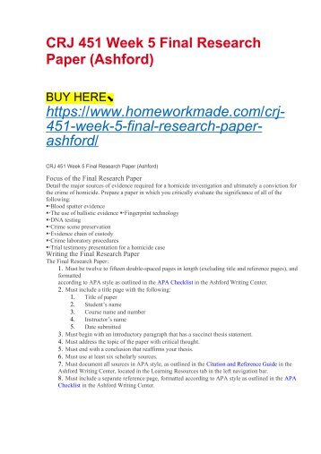 CRJ 451 Week 5 Final Research Paper (Ashford)