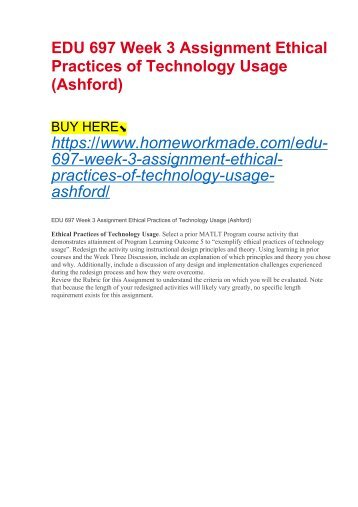 EDU 697 Week 3 Assignment Ethical Practices of Technology Usage (Ashford)