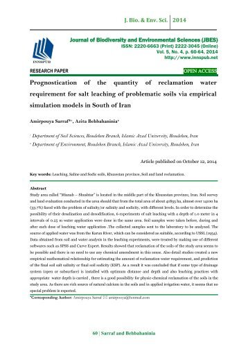 Prognostication of the quantity of reclamation water requirement for salt leaching of problematic soils via empirical simulation models in South of Iran