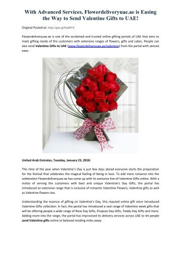 With Advanced Services, Flowerdeliveryuae.ae is Easing the Way to Send Valentine Gifts to UAE!