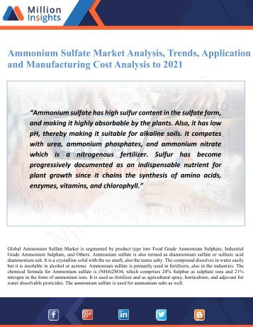 Ammonium Sulfate Market Analysis, Trends, Application and Manufacturing Cost Analysis to 2021