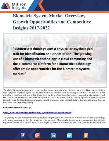 Biometric System Market Overview, Growth Opportunities and Competitive Insights 2017-2022