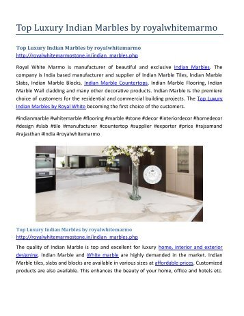 Top Luxury Indian Marbles by royalwhitemarmo