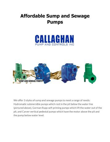 Affordable Sump and Sewage Pumps