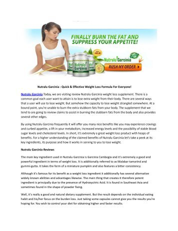 Nutralu Garcinia : Reduce Your Belly Fat Easily & Naturally!