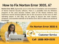 Call 1888-909-0535 to fix Norton Error 3035, 6 - Windows, Vista Help