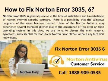 Call 1888-909-0535 to fix Norton Error 3035, 6 - Windows, Vista Help