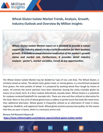 Wheat Gluten Isolate Market Trends, Analysis, Growth, Industry Outlook and Overview By Million Insights