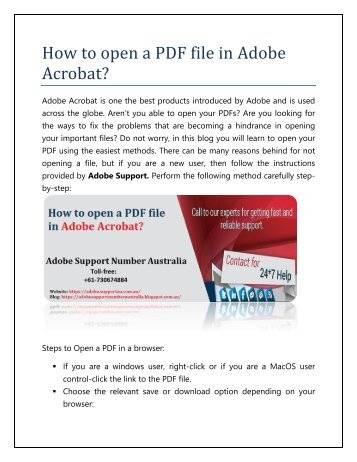 How to open a PDF file open in Adobe Acrobat