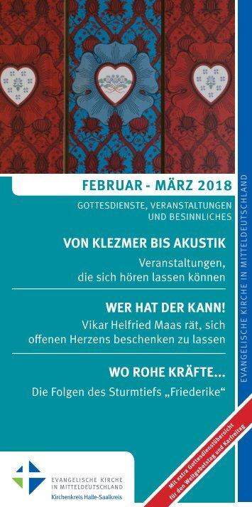 Veranstaltungsprogramm des Evangelischen Kirchenkreises Halle-Saalkreis für Februar und März 2018