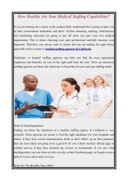 How Healthy Are Your Medical Staffing Capabilities?