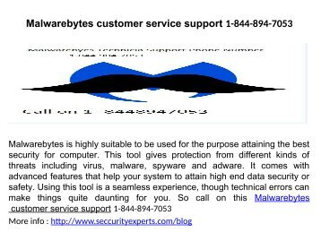 Malwarebytes Tech Support Number 1-844-894-7053