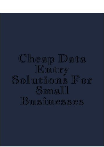 Cheap Data Entry Solutions for Small Businesses