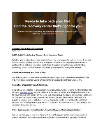 Addiction.com _ Homepage Content by Janie Diaz