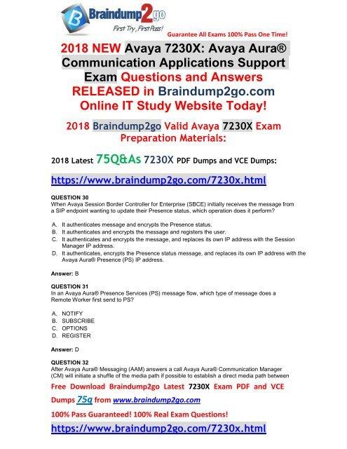 2018-January-Version]New 7230X PDF Dumps 75Q&